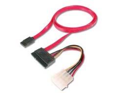 ASSMANN - SATA- / SAS-Kabel - Serial ATA 150/300/600 - SATA bis interne Stromversorgung, 4-polig, SATA Combo - 50 cm - geformt