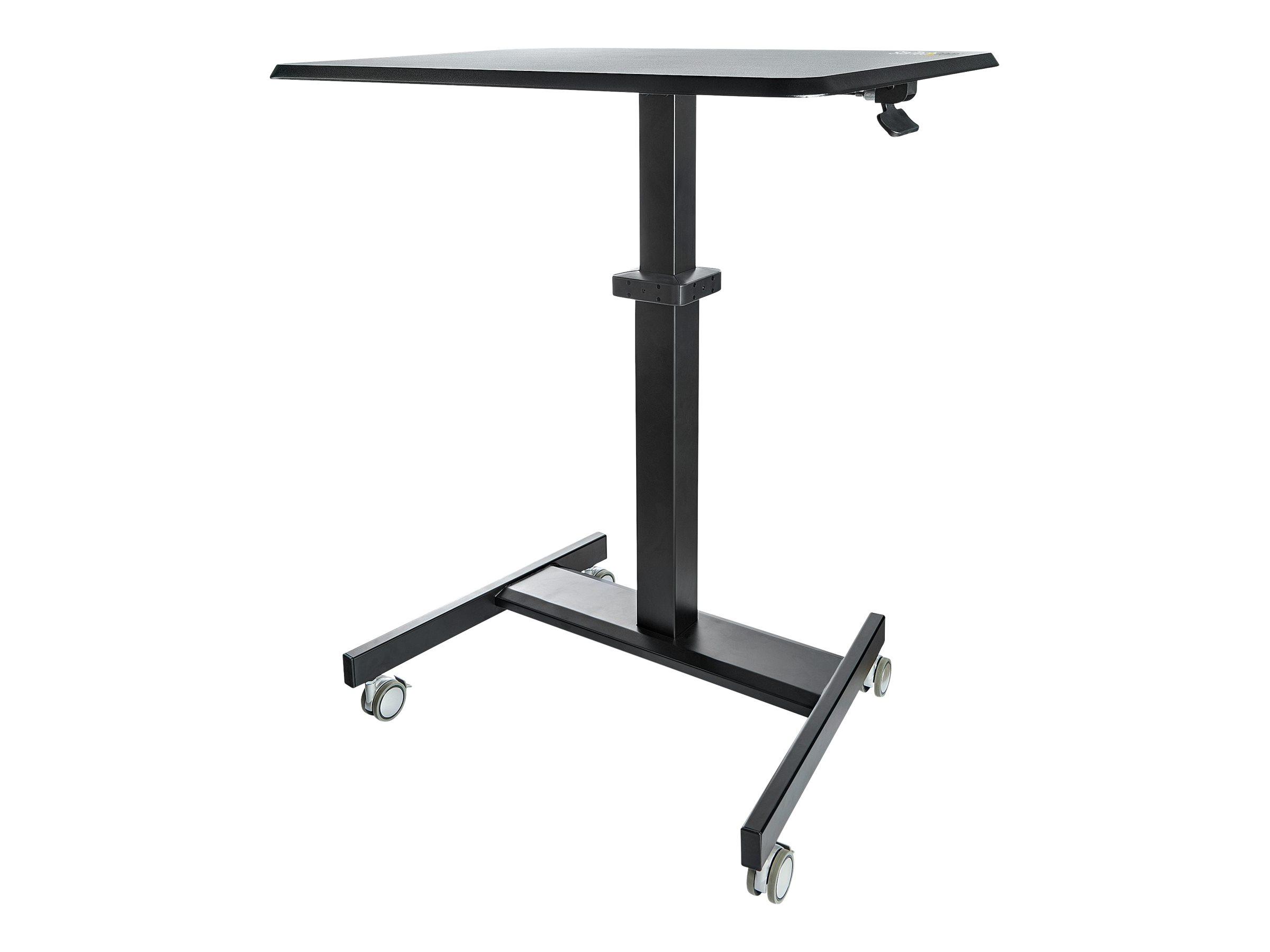 StarTech.com Höhenverstellbarer Schreibtisch - Sit Stand Workstation - Ergonomischer Stehpult mit Rollen - One-Touch-Lift für Le