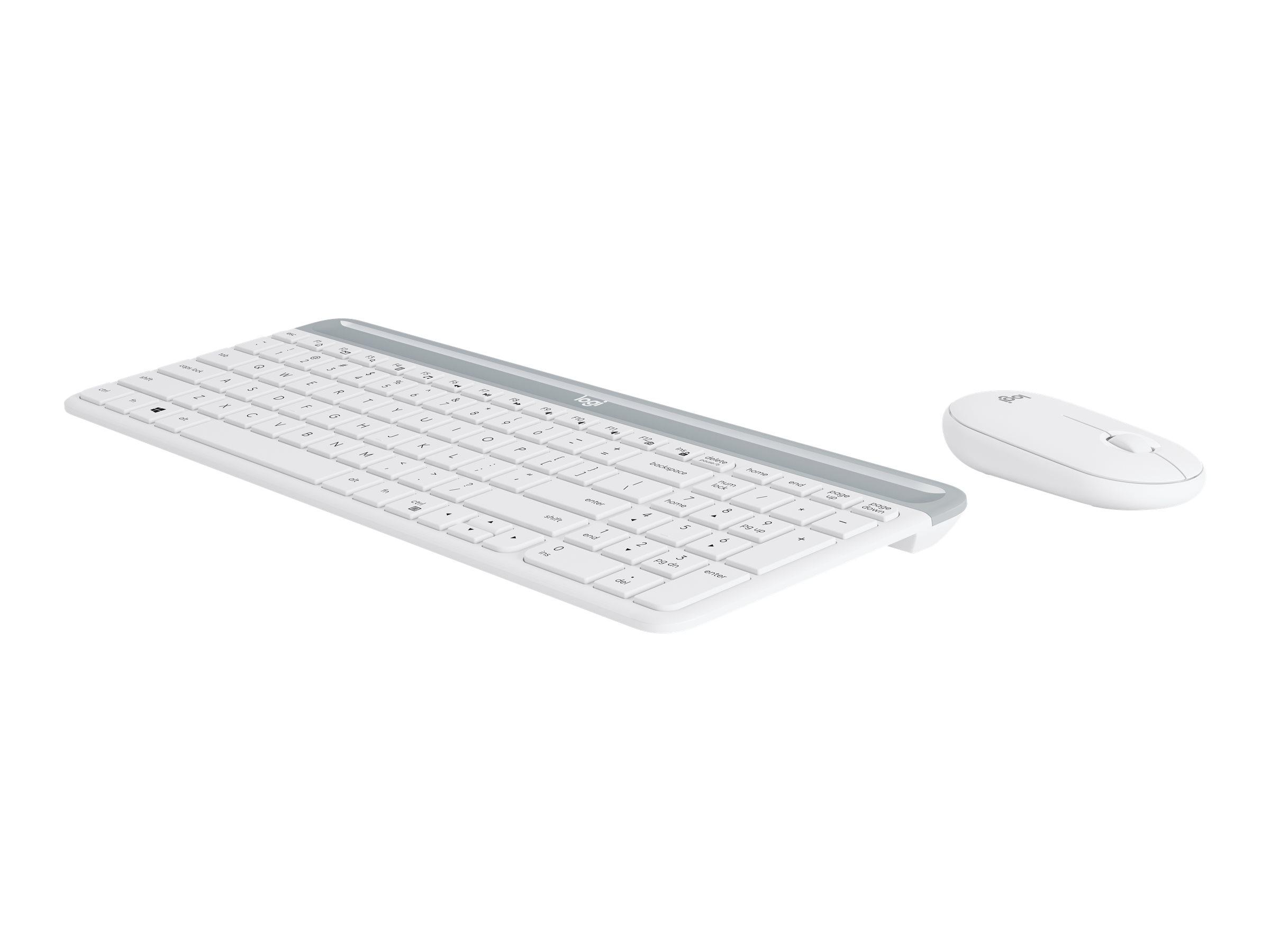 Logitech Slim Wireless Combo MK470 - Tastatur-und-Maus-Set - kabellos - 2.4 GHz - Chinesisch - Off-White
