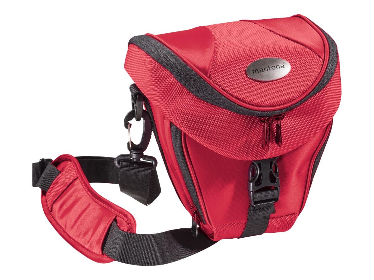 mantona Premium Colttasche - Schultertasche für Digitalkamera mit Objektiven - Polyester - Rot