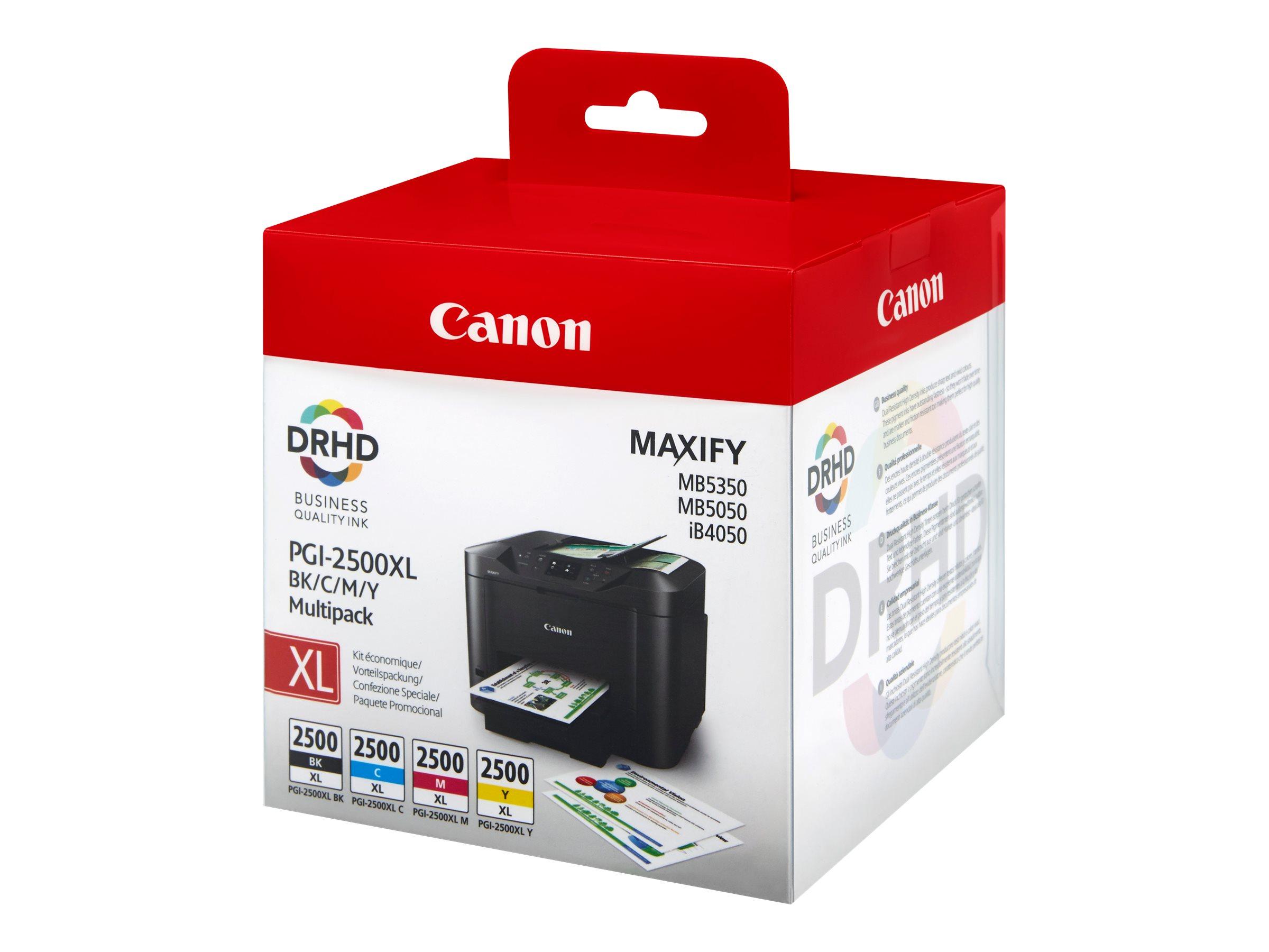 Canon PGI-2500XL BK/C/M/Y Multipack - 4er-Pack - Hohe Ergiebigkeit - Schwarz, Gelb, Cyan, Magenta - Original - Tintenbehälter