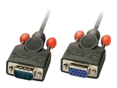 Lindy - VGA-Verlängerungskabel - HD-15 (VGA) (M) bis HD-15 (VGA) (W) - 2 m - geformt, Daumenschrauben - Schwarz