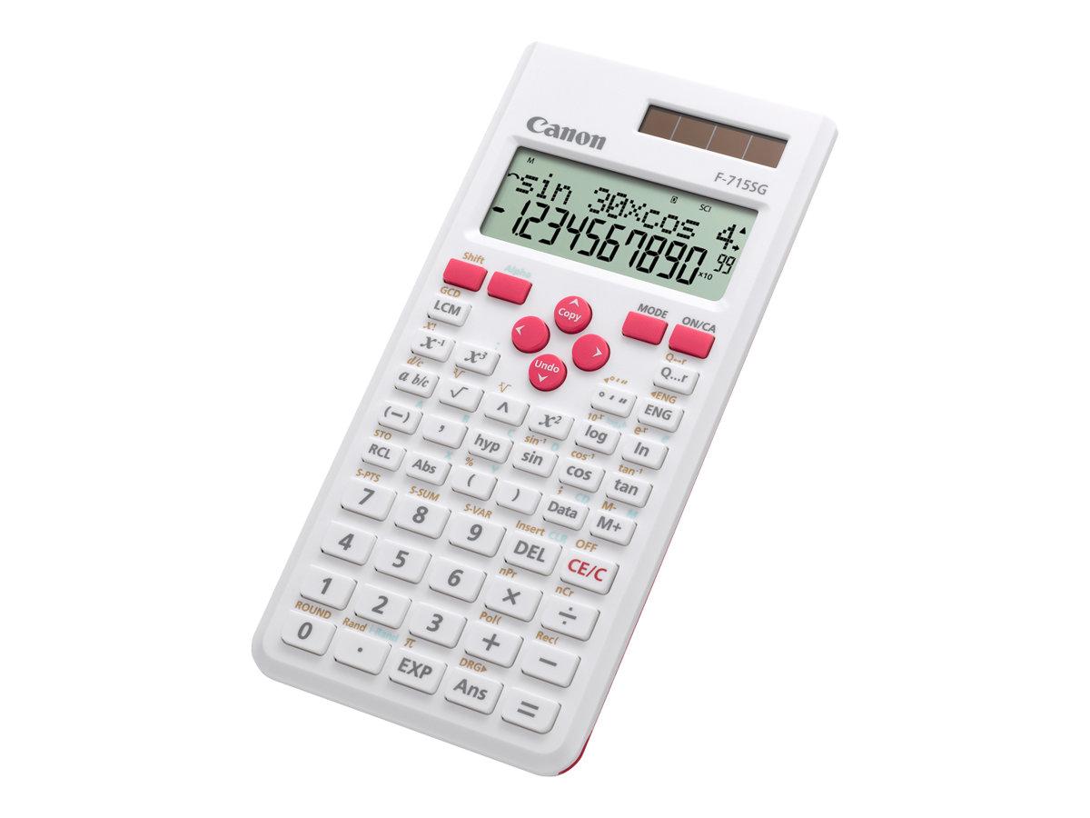 Canon F-715SG - Wissenschaftlicher Taschenrechner - 10 Stellen + 2 Exponenten - Solarpanel, Batterie - Weiss mit Magenta