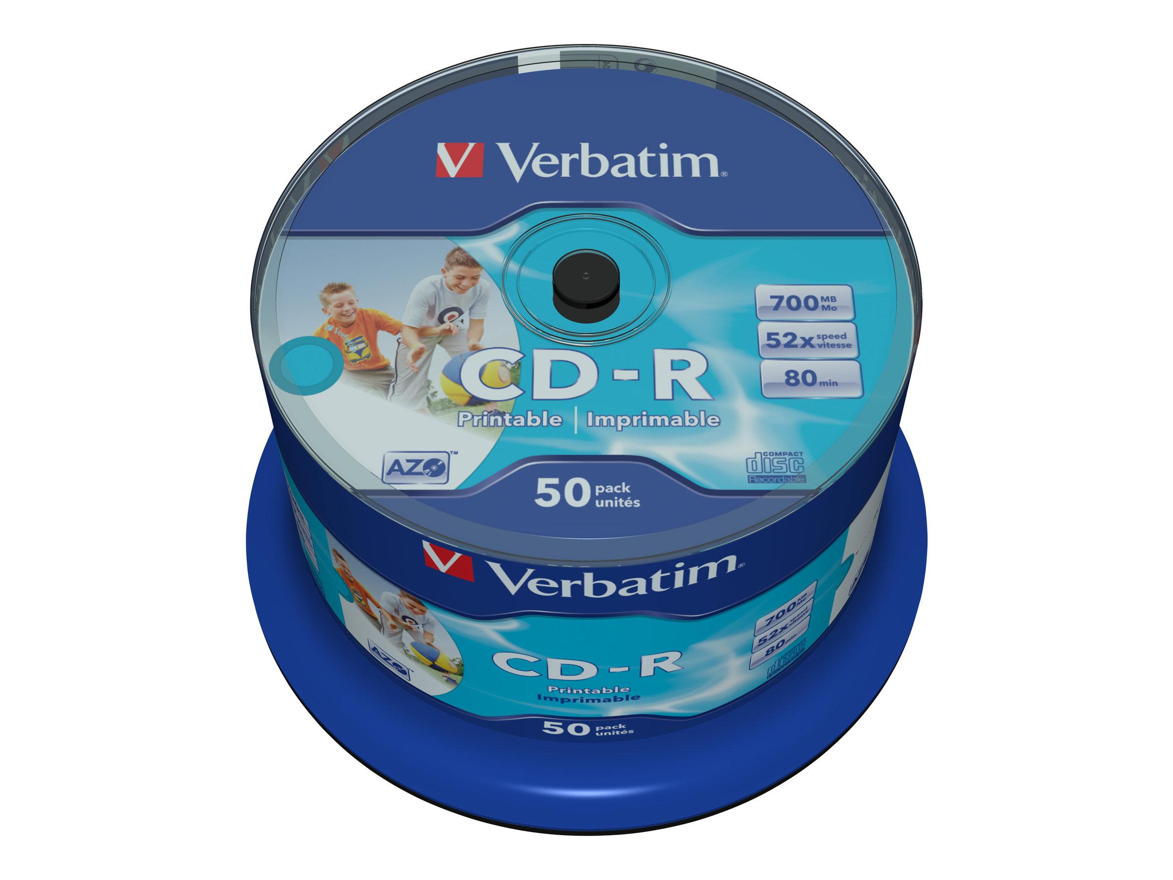 Verbatim DataLifePlus - 50 x CD-R - 700 MB 52x - breite bedruckbare Oberfläche - Spindel