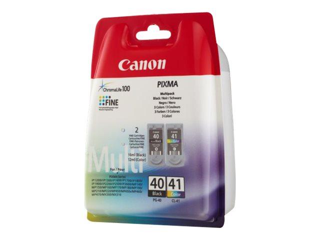 Canon PG-40 / CL-41 Multi Pack - 2er-Pack - Schwarz, Farbe (Cyan, Magenta, Gelb) - Original - Tintenbehälter - für FAX JX210; PI