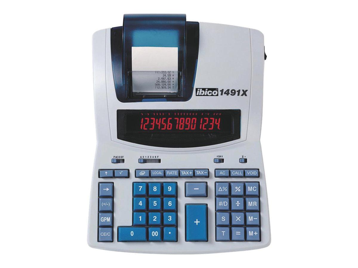 Rexel Ibico Professional 1491X - Druckrechner - LCD - 14 Stellen - Wechselstromadapter - weiss, Blau