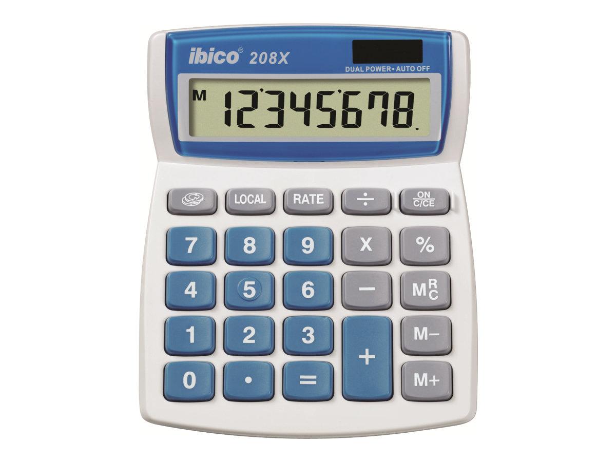 Rexel Ibico 208X - Desktop-Taschenrechner - 8 Stellen - Solarpanel, Batterie - weiss, Blau