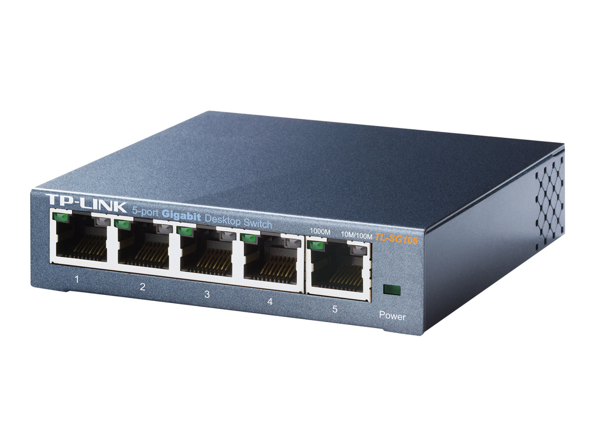 TP-Link TL-SG105 5-Port Metal Gigabit Switch - Switch - unmanaged - 5 x 10/100/1000 - Desktop