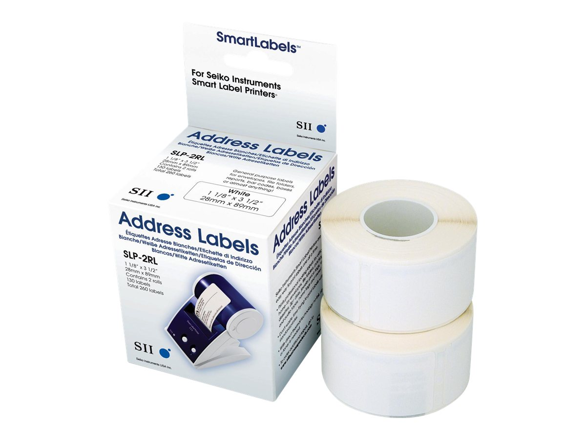 Seiko Instruments SLP-2RLH - Weiss - 28 x 89 mm 520 Etikett(en) (2 Rolle(n) x 260) Adressetiketten - für Smart Label Printer 100