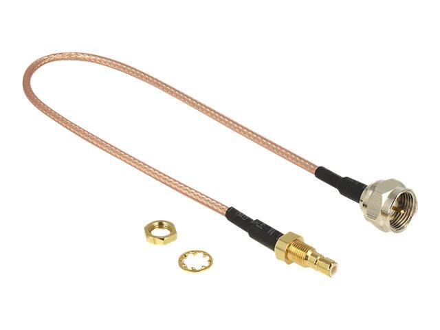 DeLOCK - Antennenkabel - F-Stecker (S) bis SMB (R) Bulkhead - 25 cm - Koax - braun, durchsichtig