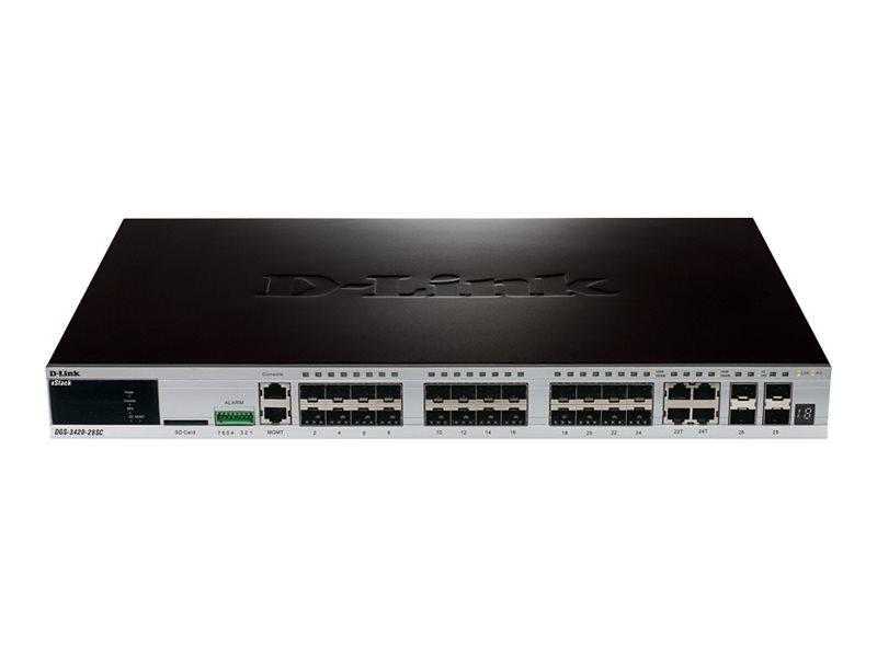 D-Link xStack DGS-3420-28SC - Switch - managed - 20 x SFP + 4 x Kombi-Gigabit-SFP + 4 x 10 Gigabit SFP+ - an Rack montierbar