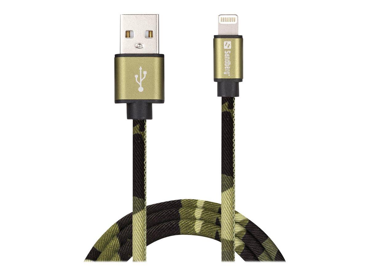 Sandberg Active - Lightning-Kabel - Lightning (M) bis USB (M) - 1 m - grünes Tarnmuster - für Apple iPad/iPhone/iPod (Lightning)