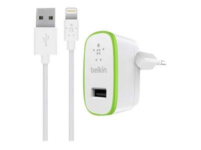 Belkin BOOST UP Home Charger+Cable - Netzteil - 12 Watt - 2.4 A (USB) - auf Kabel: Lightning - weiss