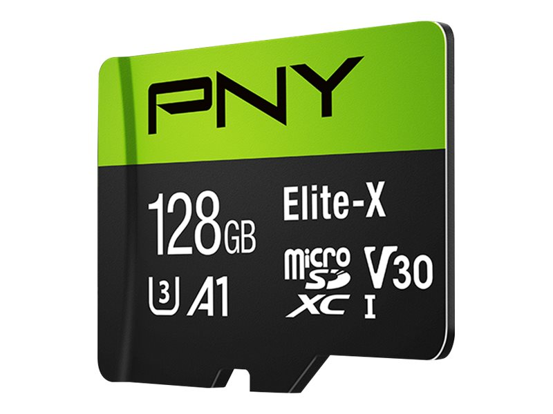 PNY Elite-X - Flash-Speicherkarte (microSDXC-an-SD-Adapter inbegriffen) - 128 GB - A1 / Video Class V30 / UHS-I U3 / Class10 - m