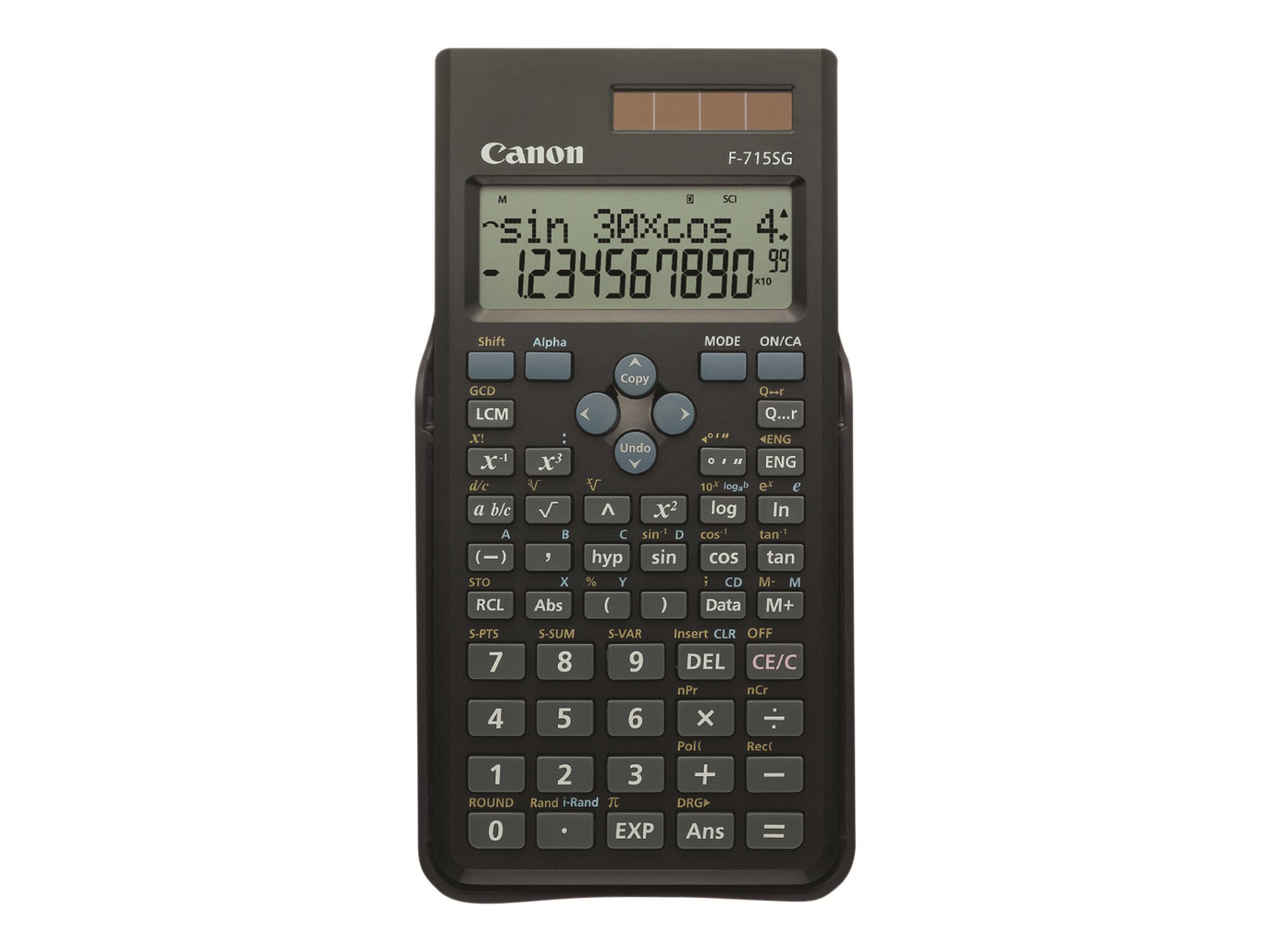 Canon F-715SG - Wissenschaftlicher Taschenrechner - 10 Stellen + 2 Exponenten - Solarpanel, Batterie - Schwarz