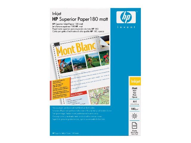HP Brochure and Flyer Paper - Matt - A4 (210 x 297 mm) - 180 g/m² - 100 Blatt Papier - für Envy 50XX, 7645; Officejet 52XX, 6000