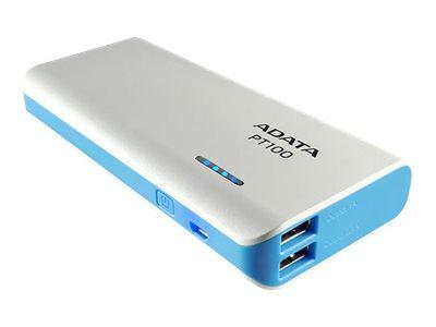 ADATA PT100 - Powerbank - 10000 mAh - 2.1 A - 2 Ausgabeanschlussstellen (USB) - weiss