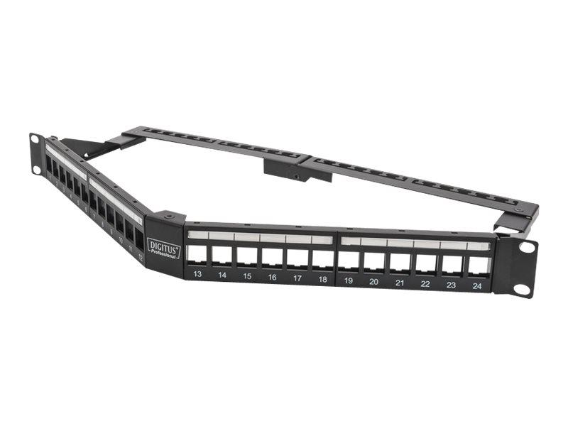 DIGITUS Professional DN-91414 - Patch Panel - RJ-45 X 24 - Schwarz, RAL 9005 - 1U - 48.3 cm (19