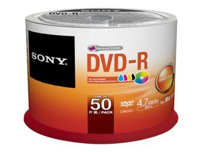 Sony 50DMR47PP - 50 x DVD-R - 4.7 GB (120 Min.) 16x - bedruckbare Oberfläche - Spindel