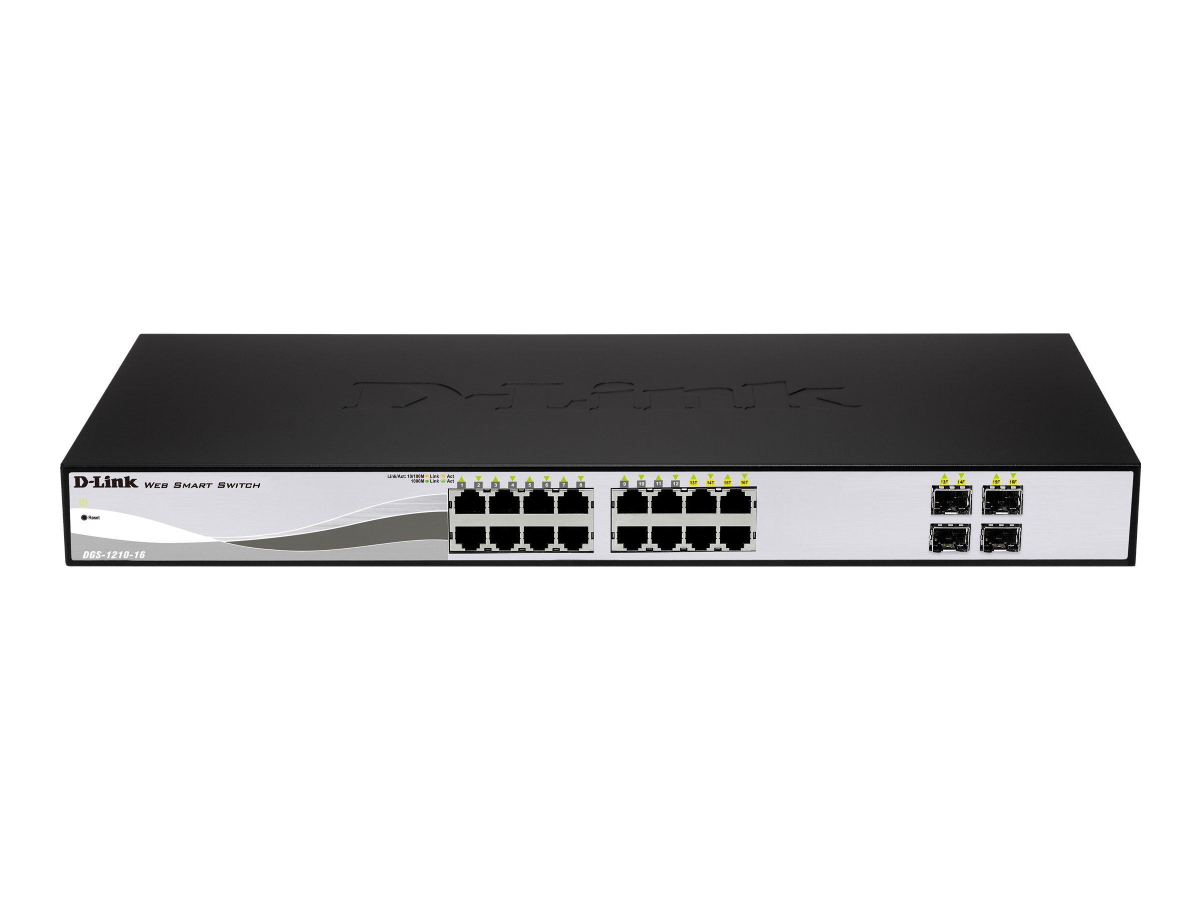 D-Link Web Smart DGS-1210-16 - Switch - managed - 16 x 10/100/1000 + 4 x Shared SFP - Desktop