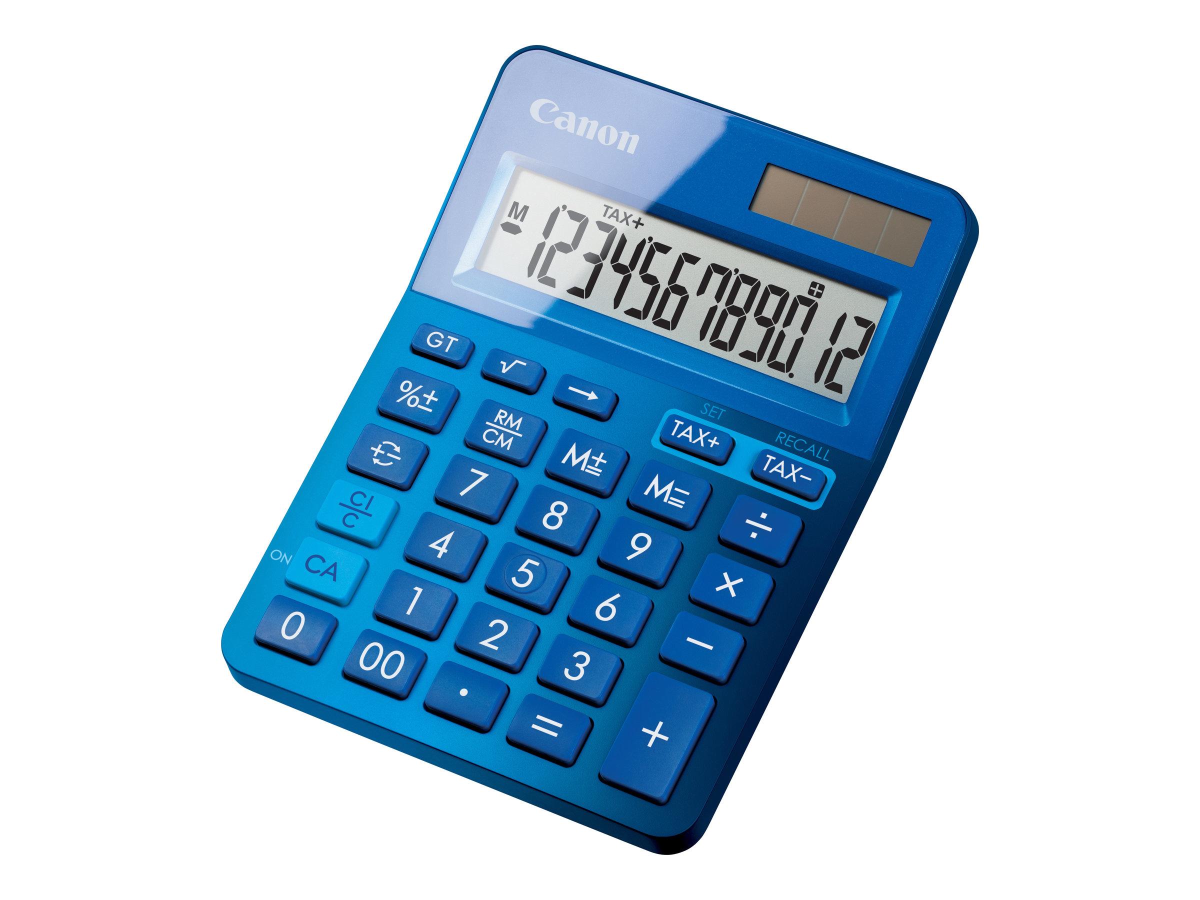Canon LS-123K - Desktop-Taschenrechner - 12 Stellen - Solarpanel, Batterie - Metallisch Blau