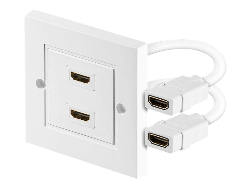 goobay - HDMI Wandteller - HDMI (W) bis HDMI (W) - abgeschirmt - weiss
