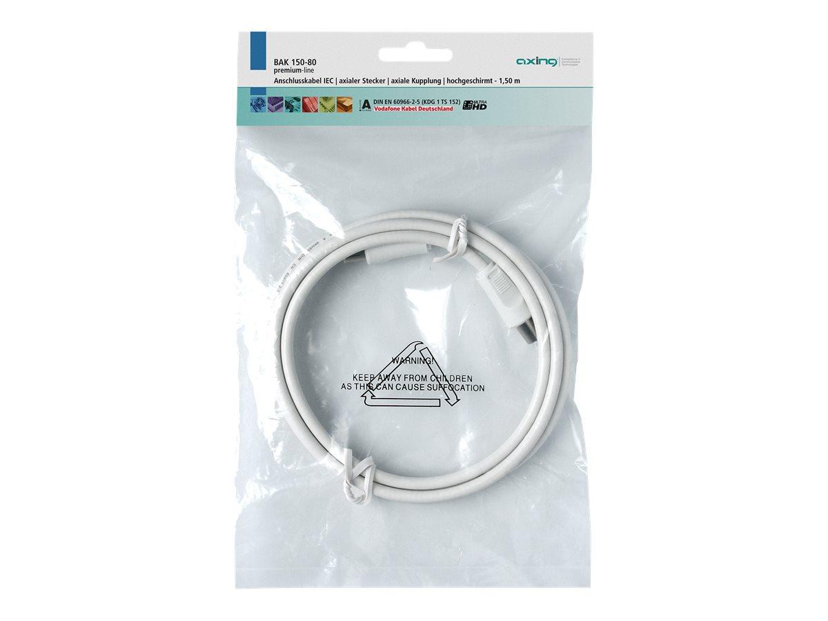 AXING premium-line BAK 350-80 - Antennenkabel - IEC-Anschluss (W) bis IEC-Anschluss (M) - 3.5 m - abgeschirmt - weiss