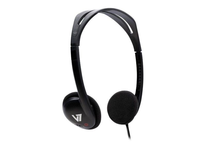 V7 HA300 - Kopfhörer - On-Ear - kabelgebunden - 3,5 mm Stecker - Schwarz