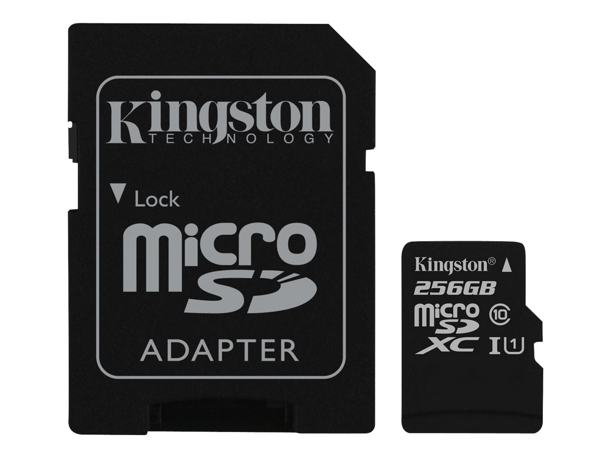 Kingston - Flash-Speicherkarte (microSDXC-an-SD-Adapter inbegriffen) - 256 GB - UHS Class 1 / Class10 - microSDXC UHS-I
