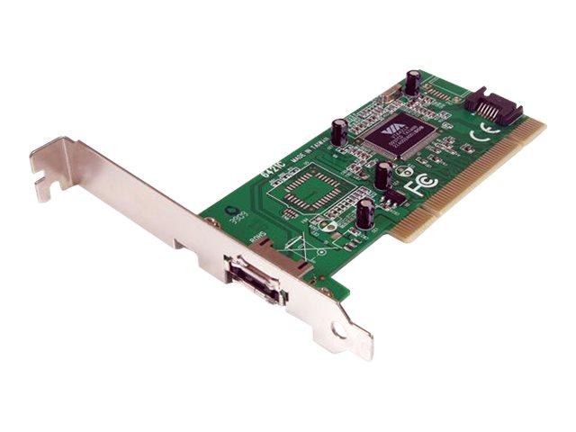 StarTech.com 1 Port eSATA/SATA PCI Controller Schnittstellenkarte inkl. Low Profile Slotblech - - Speicher-Controller - 2 Sender