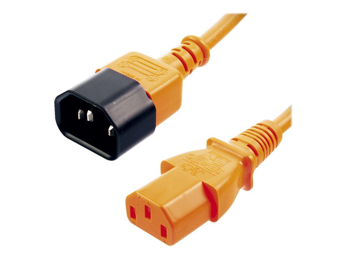Lindy - Spannungsversorgungs-Verlängerungskabel - IEC 60320 C13 bis IEC 60320 C14 - 1 m - geformt - orange