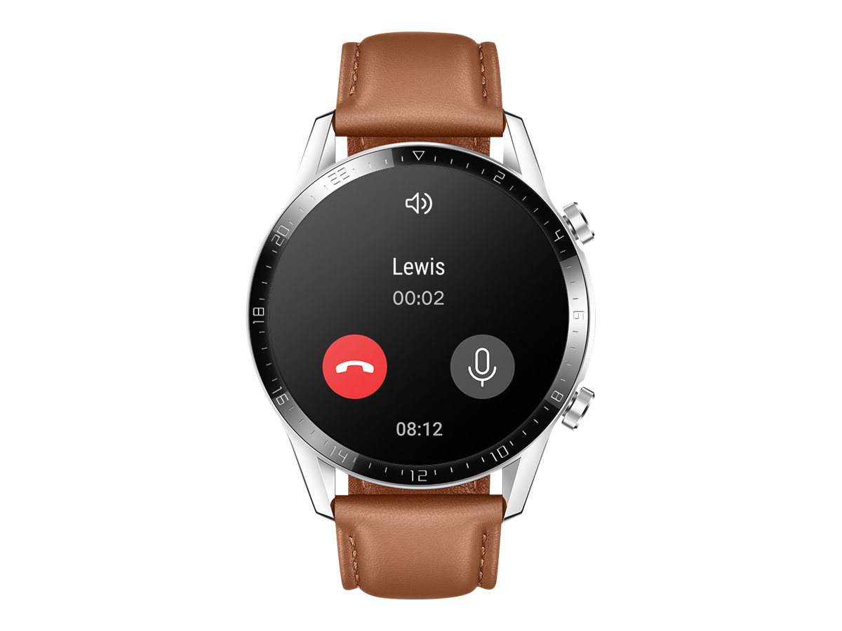 Huawei Watch GT 2 - Classic - 46 mm - Edelstahl - intelligente Uhr mit Riemen - Leder