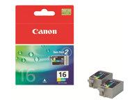 Canon BCI-16 - 2er-Pack - Gelb, Cyan, Magenta - Original - Tintenbehälter - für i90; PIXMA iP90, iP90v, mini220; SELPHY CP500, D