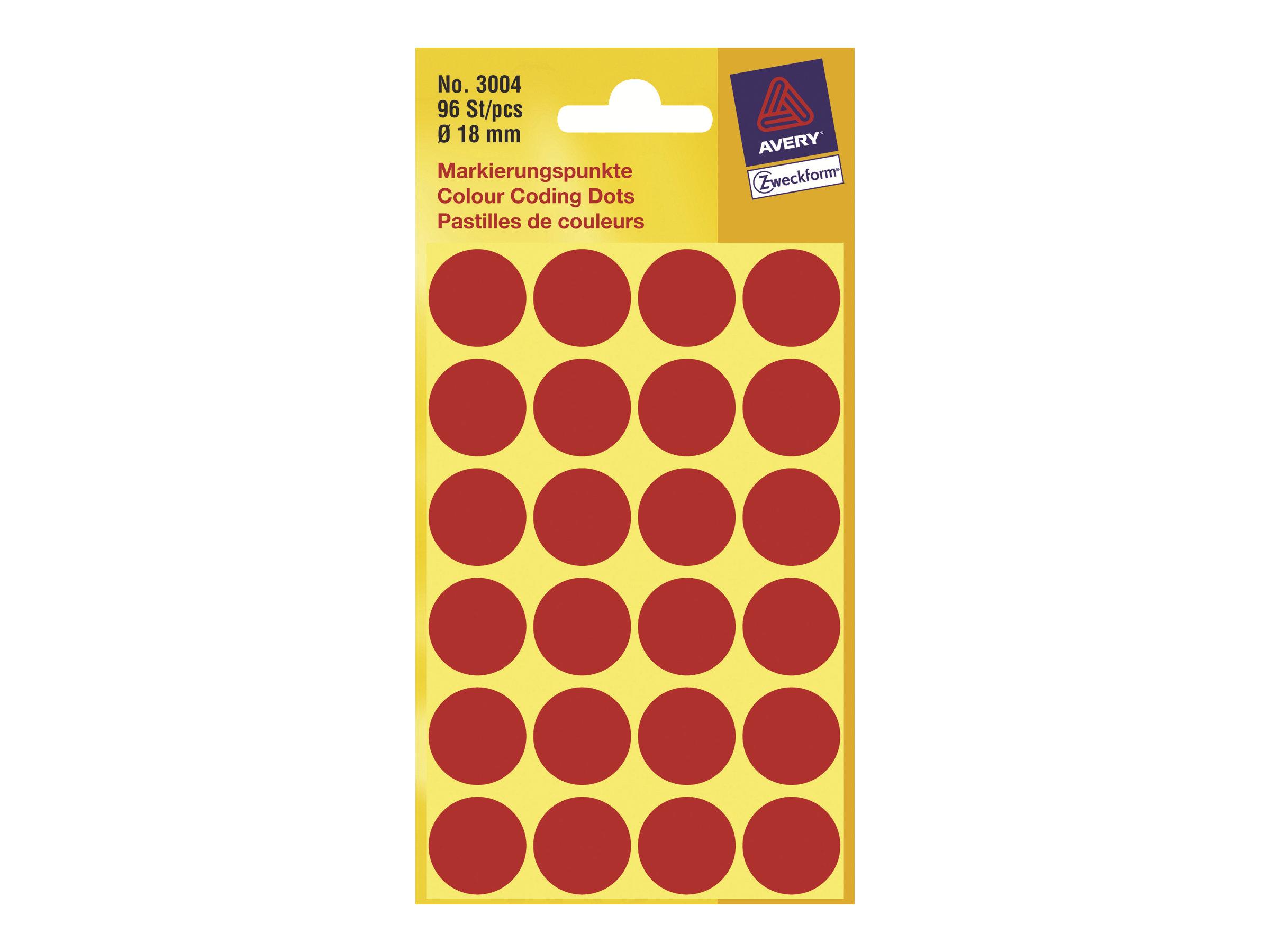 Avery Zweckform - Selbstklebend - Rot - 18 mm rund 96 Etikett(en) (4 Bogen x 24) runde Etiketten
