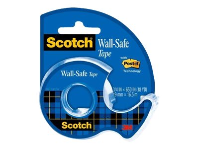 Scotch Wall-Safe 183 - Abroller mit Büro-Klebeband - Handgerät - 19 mm x 16.5 m - transparent