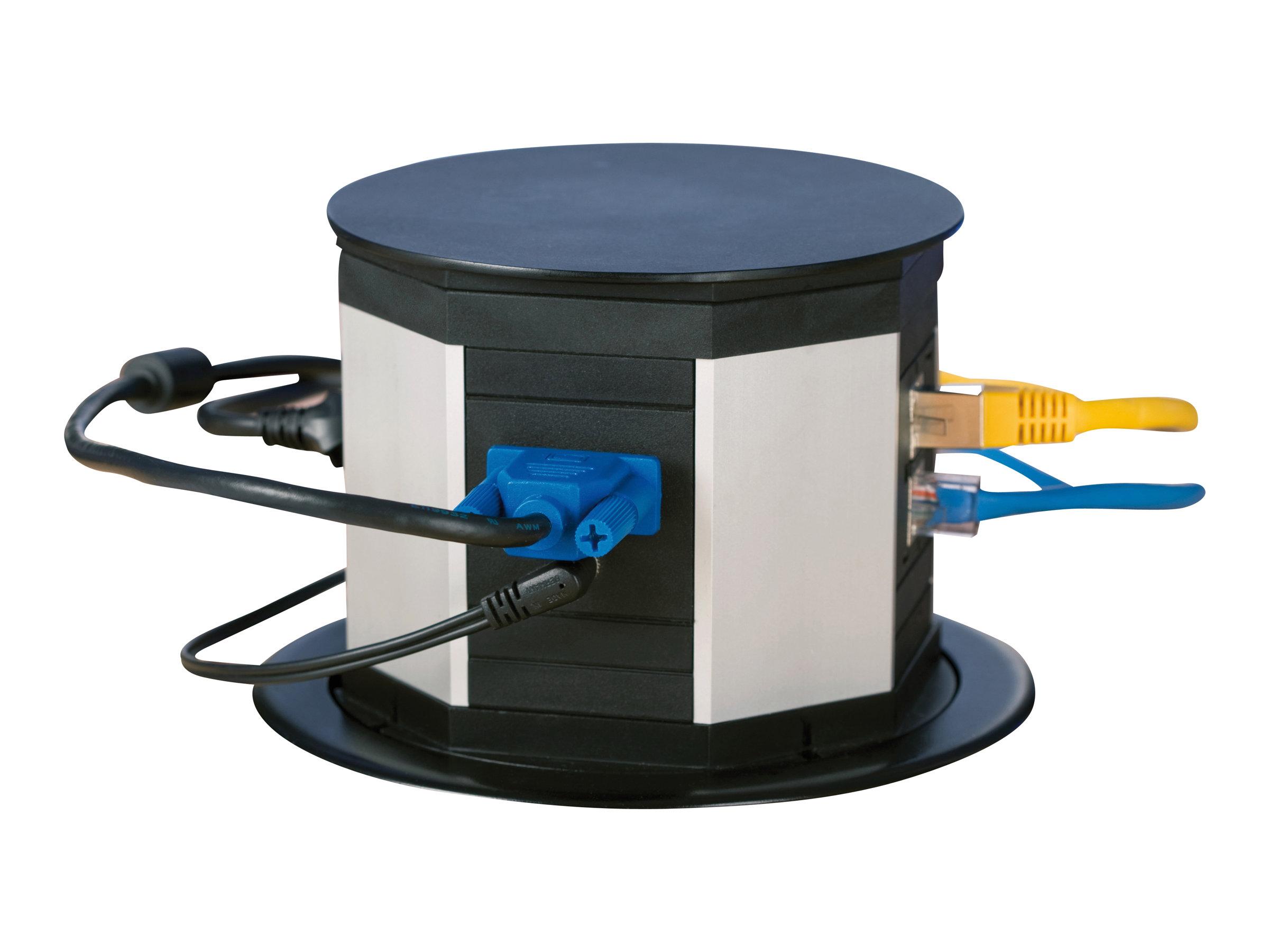 Bachmann LIFT - Steckdosenturm mit Verteiler - Schwarz