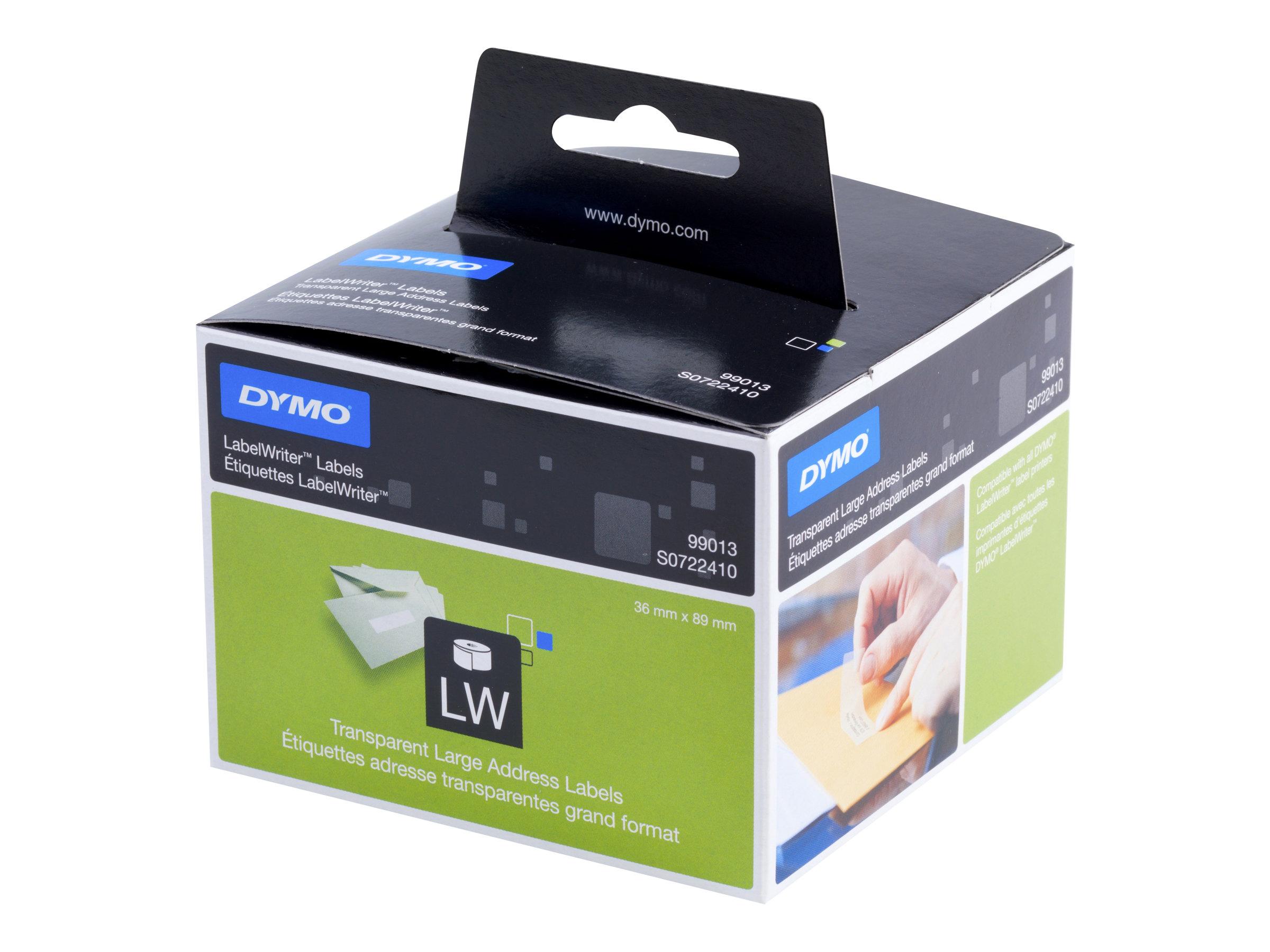 DYMO LabelWriter - Kunststoff - permanenter Klebstoff - durchsichtig - 36 x 89 mm 260 Etikett(en) (1 Rolle(n) x 260) Adressetike