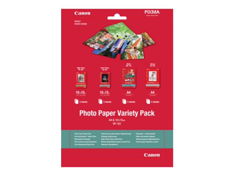 Canon Variety Pack VP-101 - 20 Blatt Fotopapier-Kit - für PIXMA MG2550, MG3550, MG3650, MG5750, MG5751, MG6450, MG6850, MG7150,