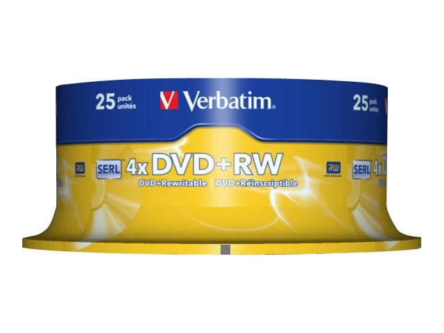 Verbatim - 25 x DVD+RW - 4.7 GB 4x - mattsilber - Spindel
