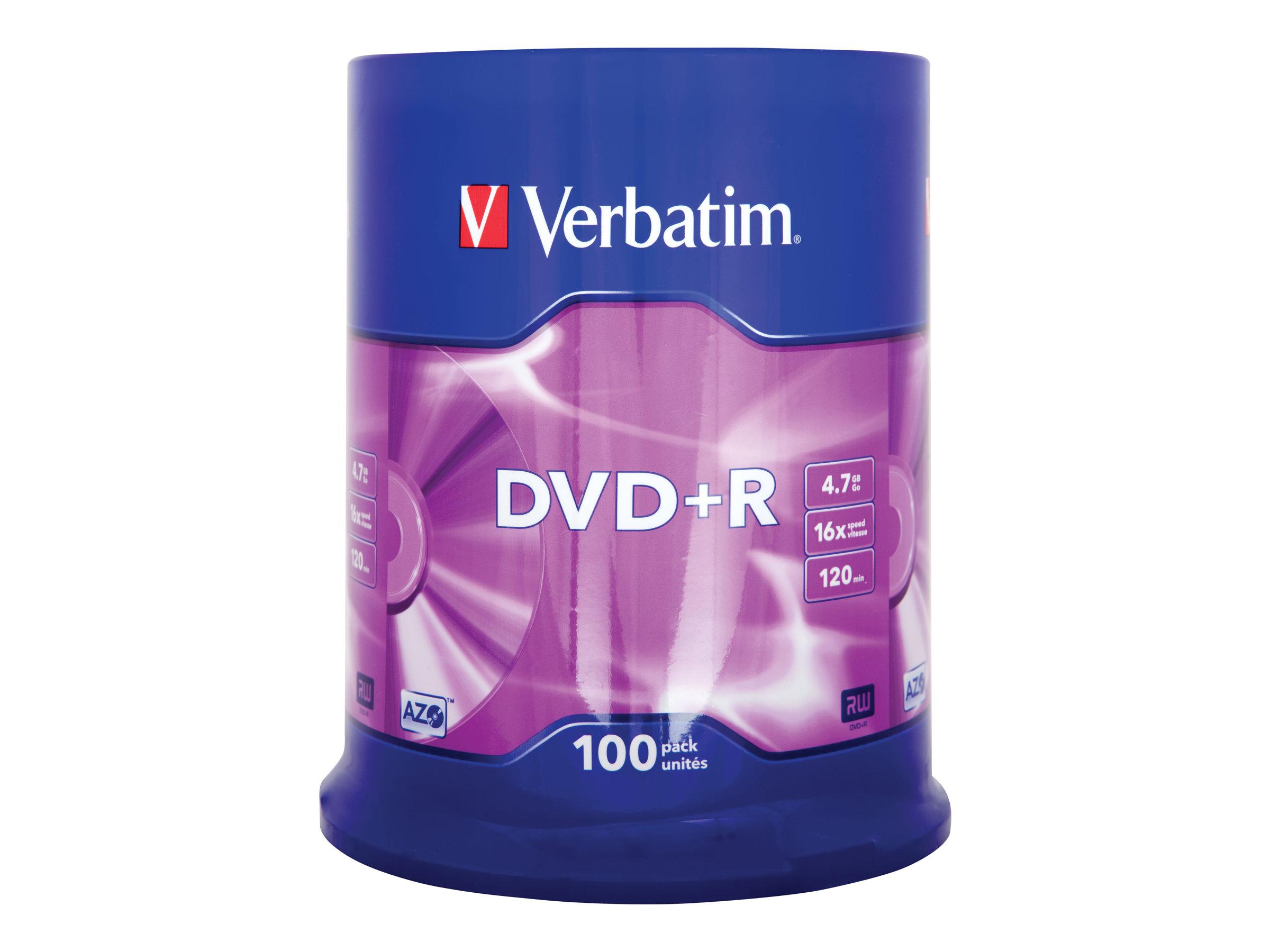Verbatim - 100 x DVD+R - 4.7 GB 16x - mattes Silber - Spindel