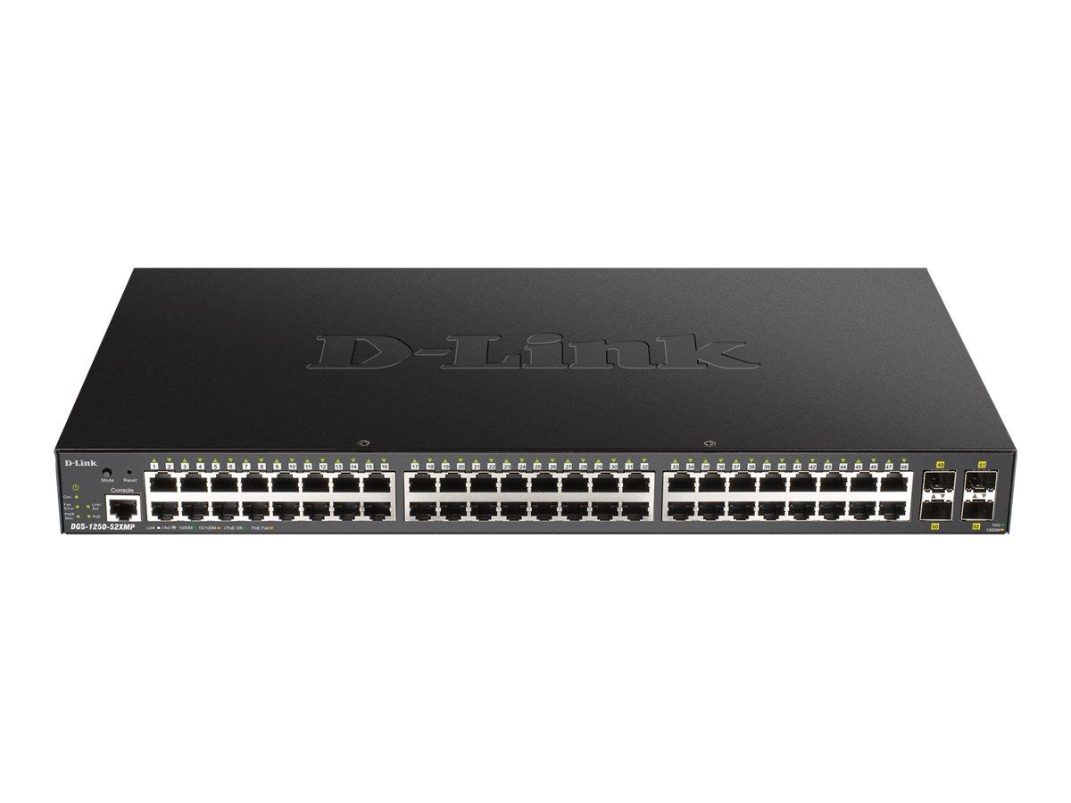 D-Link DGS 1250-52XMP - Switch - L3 Lite - Smart - 48 x 10/100/1000 (PoE) + 4 x 10 Gigabit SFP+ - an Rack montierbar