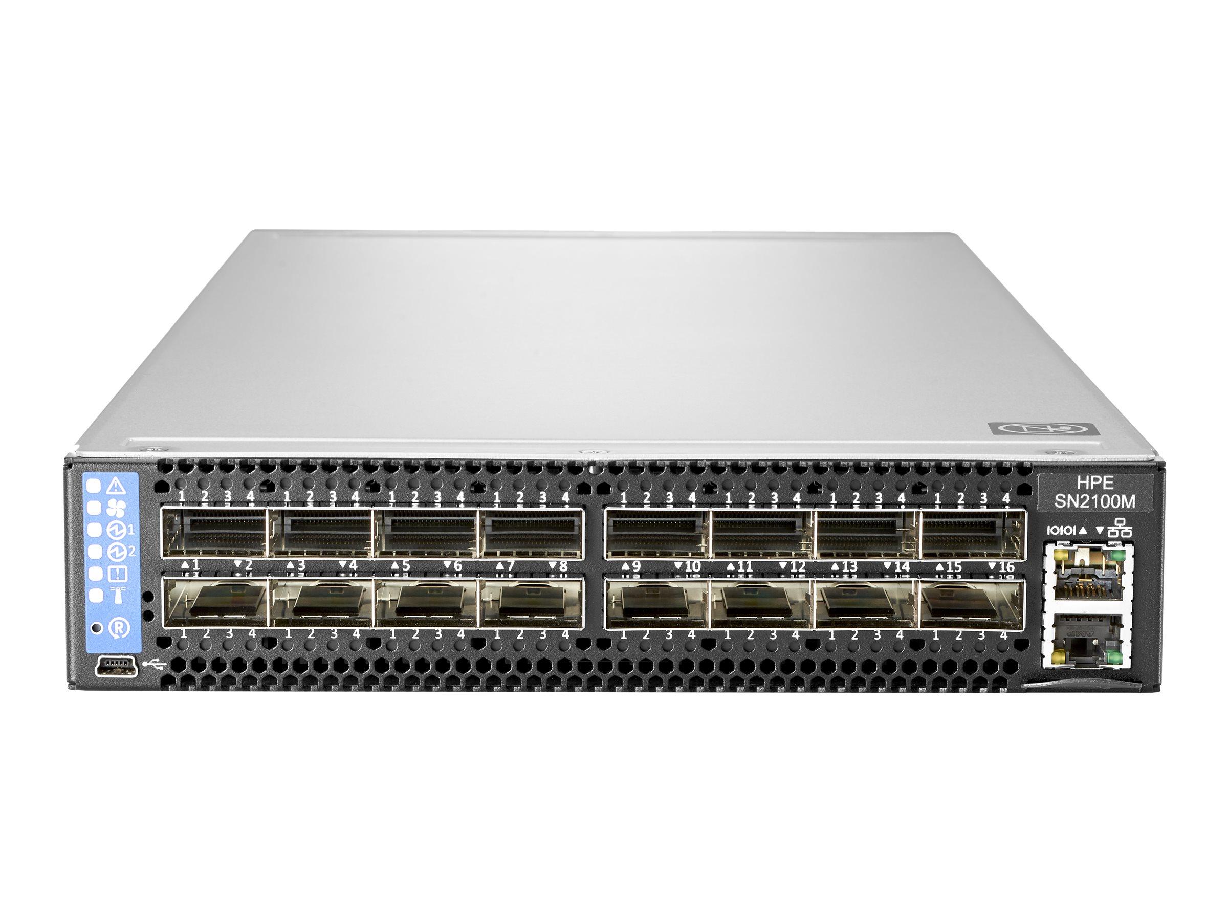 HPE SN2100M 100GbE 16QSFP28 Switch - Switch - L3 - managed - 16 x 100 Gigabit QSFP28 - an Rack montierbar