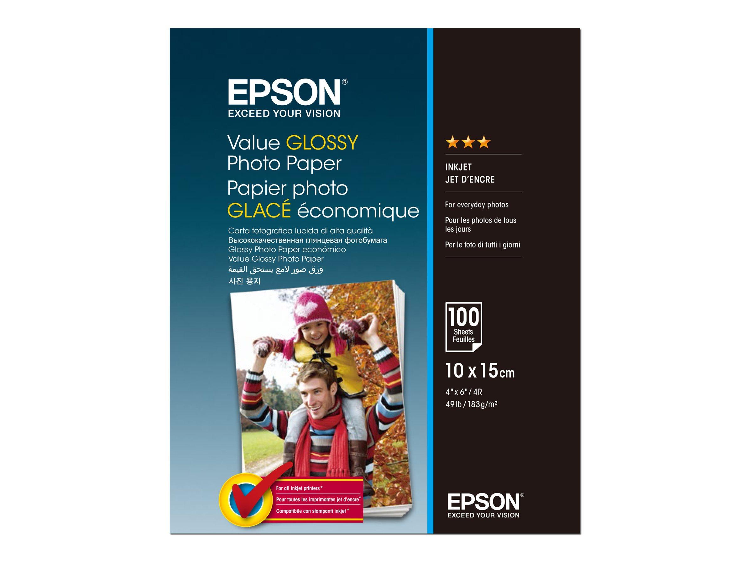 Epson Value - Glänzend - 100 x 150 mm - 183 g/m² - 100 Blatt Fotopapier - für Epson L382, L386, L486; Expression Home HD XP-1500