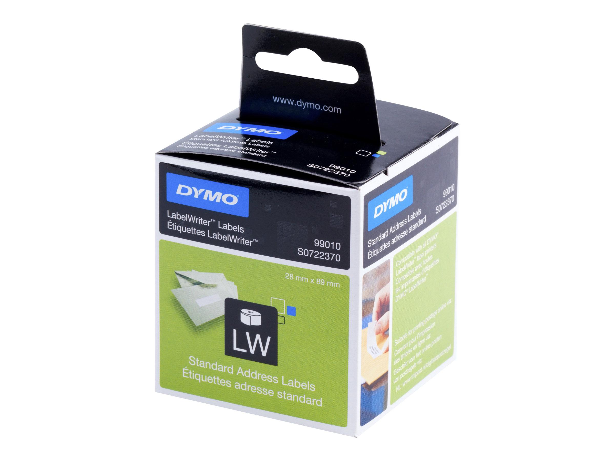 DYMO LabelWriter Address - Permanenter Klebstoff - weiss - Rolle (8,9 cm x 2,8 m) 260 Etikett(en) (2 Rolle(n) x 130) Adressetike