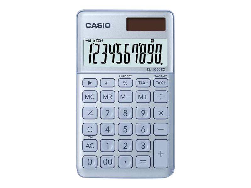 Casio SL-1000SC - Taschenrechner - 10 Stellen - Solarpanel, Batterie - Blau