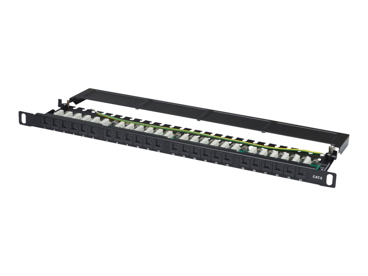 DIGITUS DN-91624U-SL-SH - Patch Panel - RJ-45 X 24 - Schwarz, RAL 9005 - 0.5U - 48.3 cm (19