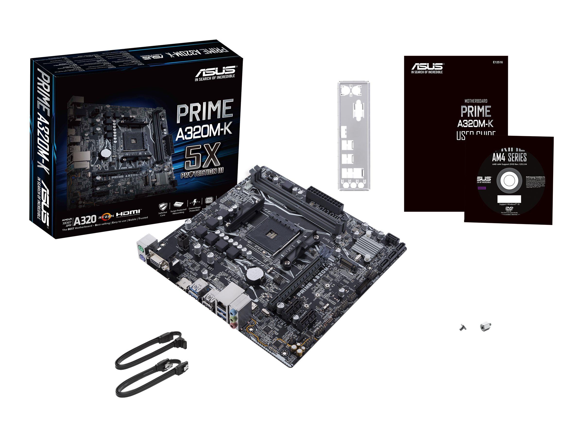 ASUS PRIME A320M-K - Motherboard - micro ATX - Socket AM4 - AMD A320 - USB 3.0