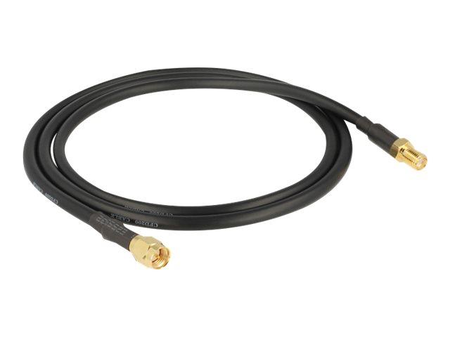 DeLOCK - Antennenverlängerungskabel - HF - SMA (W) bis SMA (S) - 90 cm - Schwarz