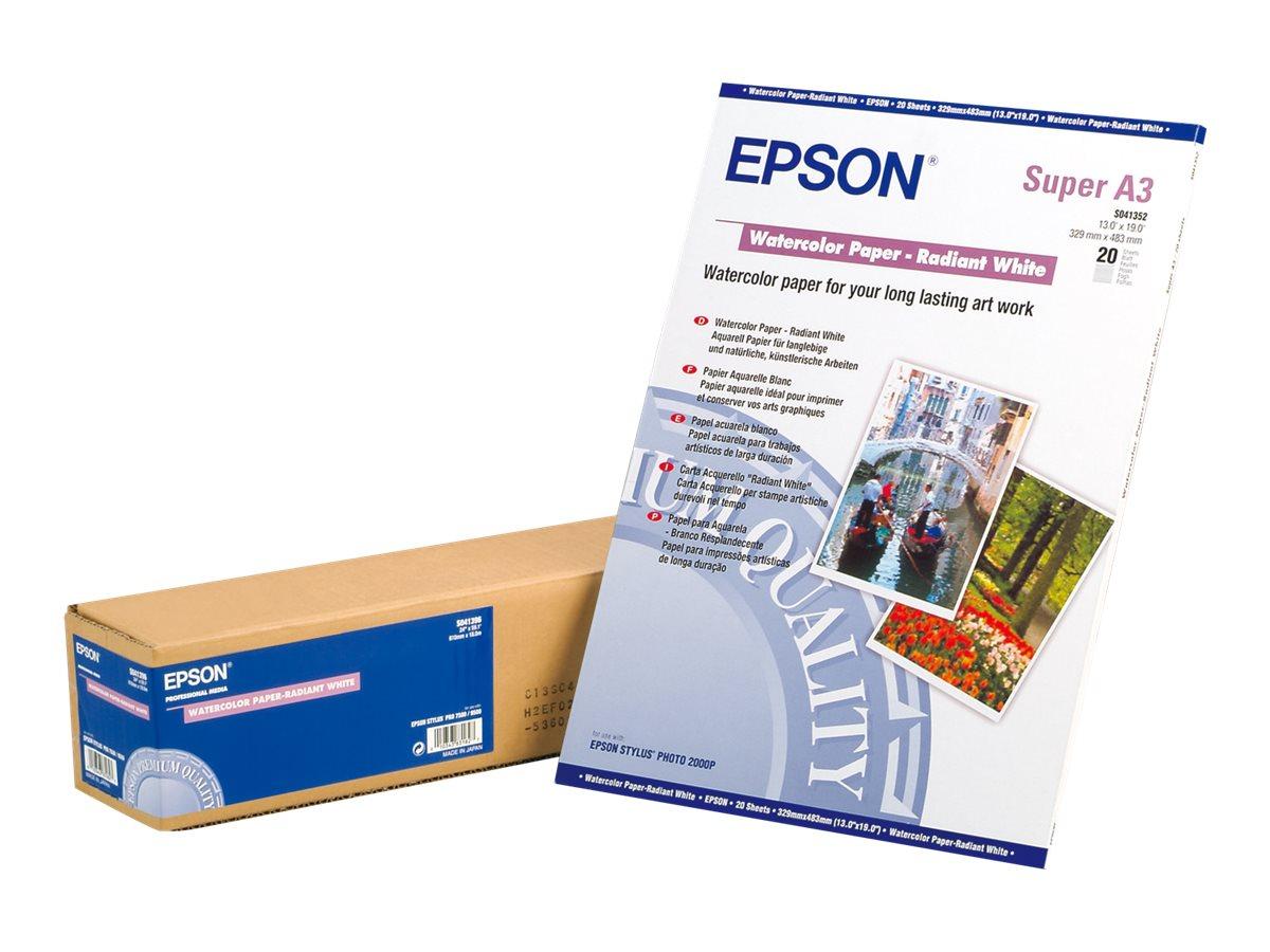 Epson - Radiant White - A3 plus (329 x 423 mm) - 188 g/m² - 20 Blatt Wasserfarbenpapier - für Stylus Pro 4900 Spectro_M1; SureCo