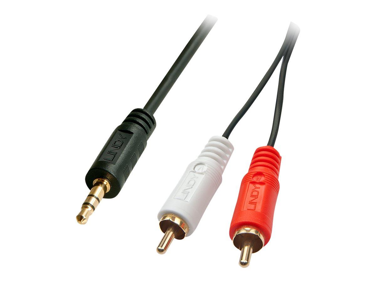 Lindy Premium - Audiokabel - RCA x 2 (M) bis Stereo Mini-Klinkenstecker (M) - 20 m - abgeschirmt - Schwarz